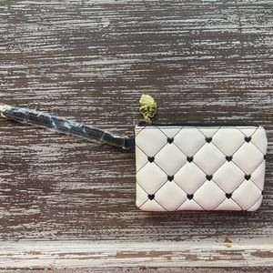 Betsey Johnson Quilted White&Black Heart Wristlet